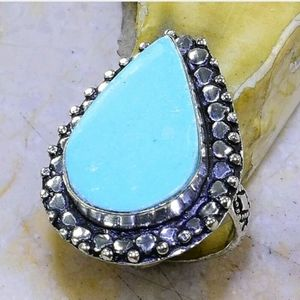 Turquoise ~ Handcrafted 925SS Ring 8